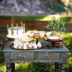 Inspired By: Vintage Cake and Dessert Displays Outdoor Buffet, Rustic Outdoor, Rustic Table, Rustic Barn, Indoor Outdoor, Table Bar, Cake Table, Deco Table, Vintage Dessert Tables