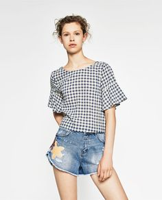 Image 1 of GINGHAM TOP WITH FRILLED SLEEVES from Zara