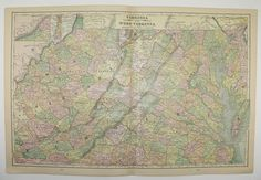 Vintage Virginia Map West Virginia Illinois Map 1898 State Map, Parkersburg WV Map, Vintage Art Map, 1st Anniversary Gift for Couple available from OldMapsandPrints on Etsy