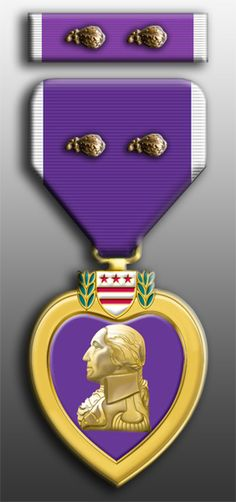 Purple Heart with 2 Oak Leaf Clusters My grandpa had one of these Military Medals And Ribbons, Us Military Medals, Military Uniforms, Purple Heart Day, Purple Hearts, Oak Leaf Cluster, Military Decorations, Military Looks, In Memory Of Dad