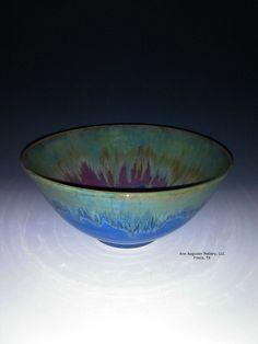 Handmade ceramic serving, salad bowl. Glazed with food safe blue, green, pink, and brown glazes. Microwave and dishwasher safe.