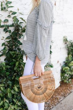 boho blouse + bamboo bag
