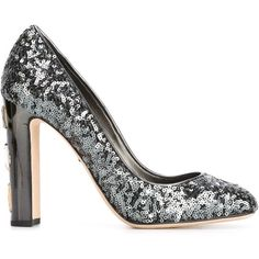 Dolce & Gabbana 'Vally' sequins pumps ($675) ❤ liked on Polyvore featuring shoes, pumps, heels, schoenen, tacones, metallic, high heel shoes, dolce gabbana pumps, chunky heel shoes and square toe shoes