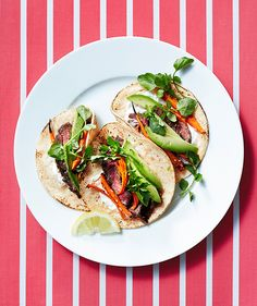 Steak and Roasted Carrot Tacos with Avocado - crazy good. Made it all on grill.
