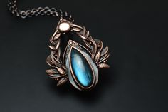 Anima Mundi II - Copper Labradorite Pendant Art Nouveau Jewelry, Jewelry Art, Copper Jewelry, Gemstone Jewelry, The Embrace, Sun Designs, Handmade Copper, Blue Tones, Metal Clay