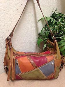 867b29ba6 Fossil Patchwork Distressed Suede Leather Shoulder Handbag Bag Key Fob  Castillo | eBay