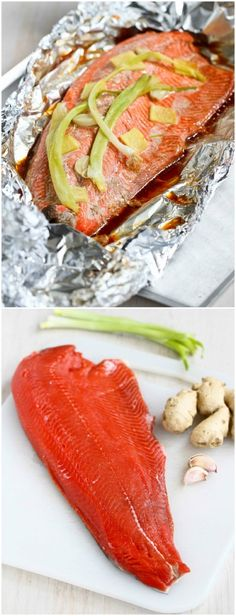 Easy Grilled Salmon in Foil with Ginger and Soy Sauce...Awesome flavor and virtually no clean-up!  231 calories & 6 Weight Watchers PP   cookincanuck.com #recipe #healthy