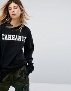 CARHARTT WIP OVERSIZED LONG SLEEVE T-SHIRT WITH COLLEGE LOGO - BLACK.   carhartt c0a426a39f0
