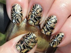 OPI - Dazzled by Gold, Lynnderella - Change, stamped with SdP 72 using black Konad special polish