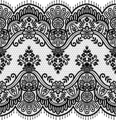 Lace seamless borders vectors set 01