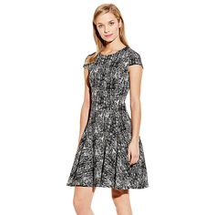 Vince Camuto Black & White Textured Etching Cocktail Dress
