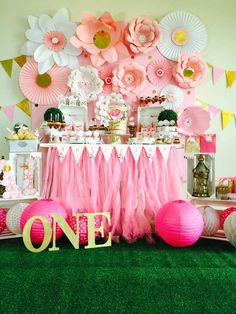 Stunning pink and gold  birthday party! See more party ideas at CatchMyParty.com!