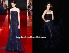 The 2014 India International Jewellery Week takes place in Mumbai from the 14th to the 17th of July and promotions for it have begun with Sonam back as the brand ambassador.  The first ad features her wearing a navy Elie Saab Couture gown. We can't see much of the jewellery but the gown looks gorg.