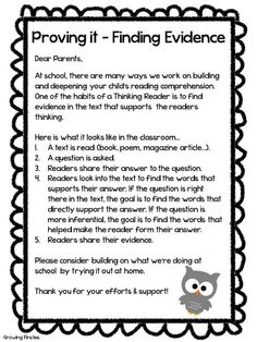 Finding Text Evidence - FREEBIE Parent Letter
