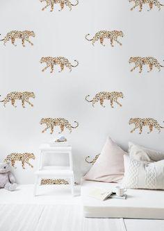 Wallpaper boys room _ Other Weelink Design Baby Wallpaper, Leopard Wallpaper, Wallpaper Roll, Unique Wallpaper, Leopard Tapete, New Room, Interior Design Living Room, Girls Bedroom, Art Deco