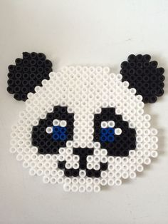 Panda hama perler beads by Louise Nielsen Perler Bead Templates, Diy Perler Beads, Perler Bead Art, Pearler Beads, Fuse Beads, Melty Bead Patterns, Pearler Bead Patterns, Perler Patterns, Beading Patterns