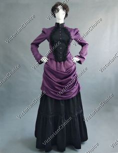 Victorian-French-Bustle-Gown-Period-Dress-Reenactment-Theatre-Clothing-139-L