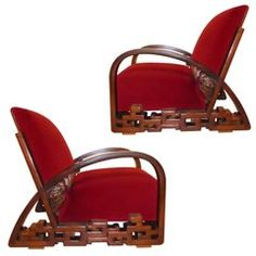 Unique Impressive Art Deco Pair of Chinese Armchairs