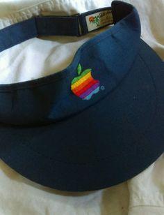 d861176b34e Vintage 80s APPLE COMPUTERS BLUE HAT VISOR USA Rainbow Big Apple ICONIC  Retro