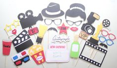27pc Movie Party Photo Booth Props with by ThePartyGirlStudio