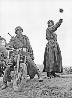 The battle of Kursk.1943 German rider and traffic COP. Left visible German RSO tractor.