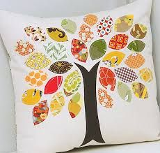 Photo as an idea inspiration for use of scrapbook paper or fabric scraps - if not on fabric, then maybe on a canvas or old picture frame.  (Link to fall craft decor - Google Search)
