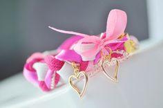 Pink elegant braided bracelet
