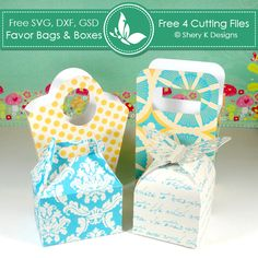 Free 4 SVG Favors Bags and Boxes Cutting Files http://www.sherykdesigns.com/shop/all-products/free-4-svg-favors-bags-and-boxes-cutting-files/prod_291.html
