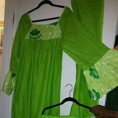 3 piece African Senegalese styled dress set NWOT 3 piece African styled dress set with flower across chest, on edge of sleeves and on wrap skirt. Full length dress with wrap skirt and head wrap. 100% cotton. NWOT Dresses Long Sleeve