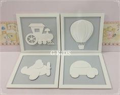 QUADRO PROVENÇAL MEIOS DE TRANSPORTE -  Decoração quarto de bebê, Kit quadros provençal carrinho,#baby, #decor,  www.gkids.com.br