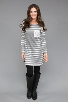 Magnolia Boutique Indianapolis - Girl Next Door Striped Dress - Heather Grey/Ivory, $29.00 (http://www.indiefashionboutique.com/girl-next-door-striped-dress-heather-grey-ivory/)