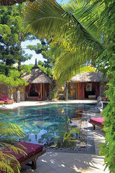 Dinarobin spa resort in Mauritius. Love those cozy cabanas!