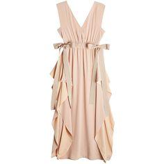 Fendi Silk Crepe Dress ($2,705) ❤ liked on Polyvore featuring dresses, pink, frilly dresses, pink dress, fendi, silk crepe dress and flutter-sleeve dresses