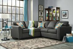 2 PC Playa Collection Gray Linen Like Look Fabric Upholstered Sectional Sofa Set with Rounded Top Arms