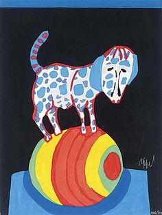 By Karel Appel The Circus Suite, Il répète pour nous from Portfolio III, Woodcut with Embossing. Dachshund, Amsterdam, Cobra Art, Picasso Paintings, Dutch Painters, Artwork Images, Dog Art, Easy Drawings, Modern Art