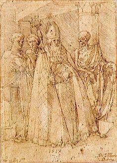 Dürer Albrecht (1471-1528) - Evêque accompagné de deux prêtres et de la mort -  dessin - 1518