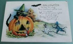 Halloween-Postcard-Black-Cat-Witch-Hat-Bat-Jack-o-lantern-Pumpkin-Dressed-Mice