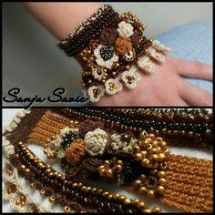 crochet, beaded cuff ,jewelry