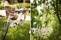 chandeliers in trees is such a great way to glamourize an outdoor wedding...and riding in on an adorable bicycle is a great way to keep your big day fun and not-to-serious:)