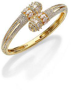 Adriana Orsini Crowned Pavé Crystal Wrap Bracelet/Goldtone on shopstyle.com Jewelries, Luxury Jewelry, Jewlery, Brass, Women's Fashion, Crown, Crystals, Diamond, Bracelets