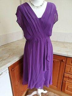 B10. Hobbs 100% Silk Purple 2 Piece Dress Size 12   eBay