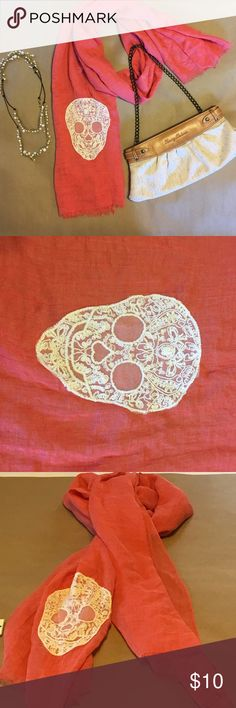 Skull Scarf with tags Lace cream color skull on a beautiful coral color scarf Accessories Scarves & Wraps