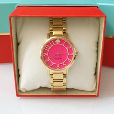 """♠️ KATE SPADE l Pink Gramercy Watch Authentic Kate Spade Pink Gramercy Watch (Style# 1YRU0389). Gold plated stainless steel case with an adorable pink dial and oversized gold hour markers! Case is 34mm in diameter and 7mm thick. Bracelet measures 7.5"""" long and 19mm wide. Clasp type: hidden deployment. Water resistant to 3 ATM. Brand new with tags still attached and in plastic packaging (also comes with original Kate Spade box, booklet, etc.)! PRICE IS FIRM even if bundled! No PP, trades, or…"""