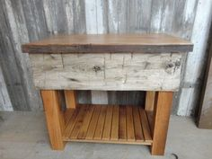 Vanity with Live Edge Top and Hand Hewn Beam Skin Accent, Kitchen Island, End Table made from Reclaimed Oak Barn Wood, Made to Order Barn Wood Projects, Cool Woodworking Projects, Popular Woodworking, Hand Hewn Beams, Rustic Kitchen Island, Wood Slab, Reclaimed Barn Wood, Types Of Wood, Furniture Making