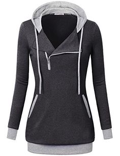 Zipper Hoodie WomenMessic Womens Lantern Sleeves Slim Fit 14 Oblique Zipper Hoodie SweatshirtCarbon BlackLarge *** More info could be found at the image url.