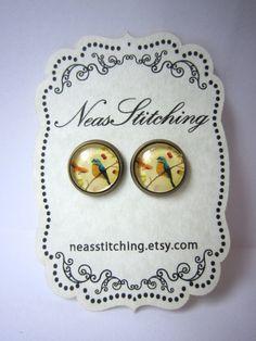 Glass cabochon earrings