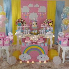 No photo description available. Unicorn Birthday Parties, Unicorn Party, Baby Birthday, Birthday Party Themes, Cloud Party, Rainbow Party Decorations, Sunshine Birthday, Rainbow Baby, Baby Shower Parties