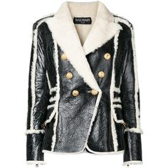 Balmain double breasted shearling jacket (12.060 BRL) ❤ liked on Polyvore featuring outerwear, jackets, black, shearling lined jacket, balmain, shearling jacket, urban jackets and collar jacket