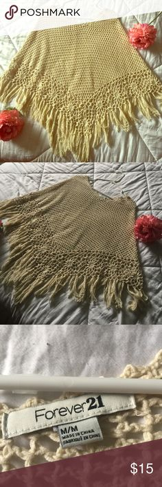 Forever 21 Beige Crocheted Poncho Kimono/Poncho Style top from Forever 31. Size medium, great piece to add to any wardrobe! Wear in the summer over a tank top or in the fall/winter over a long sleeve tee. One size fits most.                                              🎀 🎀 🎀 🎀 🎀 🎀 🎀 🎀 🎀 🎀 🎀 🎀 🎀 🎀 🎀     B U N D L E with other items in my closet to save 15%!!! Forever 21 Tops
