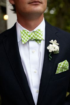 Love bow ties! Need to get Amar a good green gingham one....
